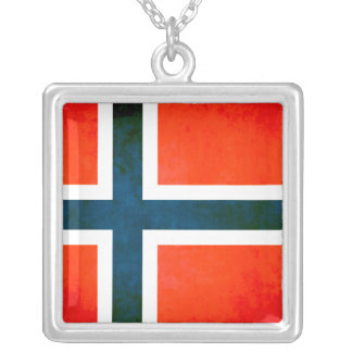 Colorful Contrast Norwegian Flag Silver Plated Necklace
