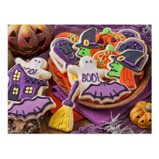 Colorful Cookies For Halloween Party Postcard