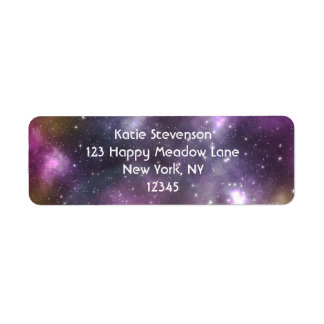 Colorful Cool Nebula and Stars in Space Return Address Label