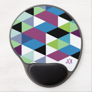 Colorful Cool Tones Modern Geometric Pattern Gel Mouse Pad