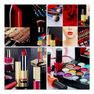 Colorful Cosmetic Collage Perfect Poster