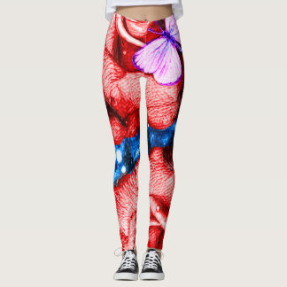 Colorful Cosmic Roses & Butterflies Pencil Art Leggings