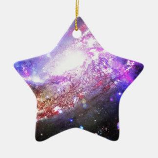 Colorful Cosmos Ceramic Star Ornament