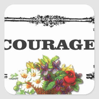 colorful courage art design square sticker