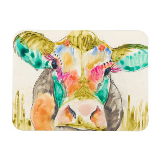 Colorful Cow Design Rectangular Photo Magnet