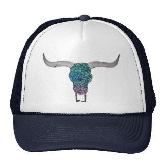 Colorful cow skull cap trucker hat