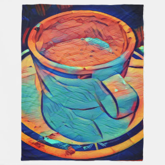 Colorful Cozy Cup of Coffee Fleece Blanket