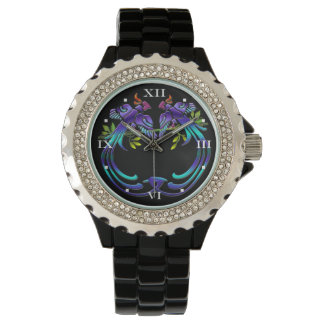 Colorful Craftsman Style Peacocks on Black Wristwatch
