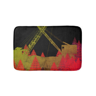 Colorful Crane Operator Operating Engineer Fantasy Bath Mat