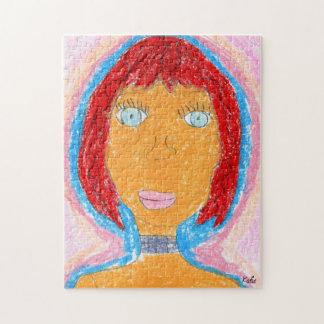 Colorful Crayon Lady Artwork Portrait Jigsaw Puzzle