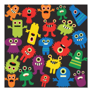Colorful Crazy Fun Monsters Creatures Pattern 5.25x5.25 Square Paper Invitation Card