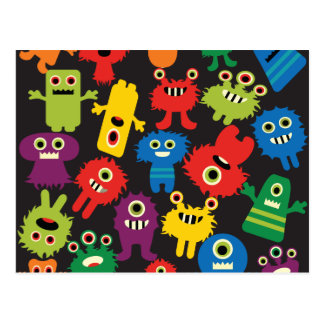 Colorful Crazy Fun Monsters Creatures Pattern Postcard
