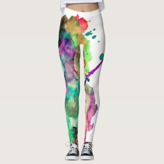 Colorful, Crazy, Trendy, Bold Abstract Watercolor Leggings