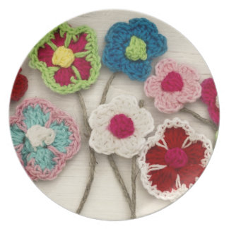 colorful crocheted flowers party plate