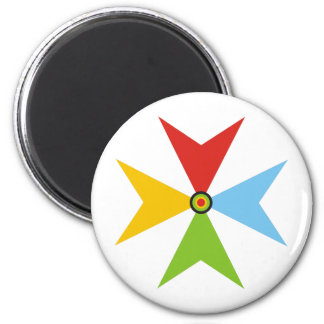 colorful cross 2 inch round magnet