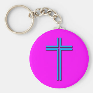 Colorful Cross Basic Round Button Keychain