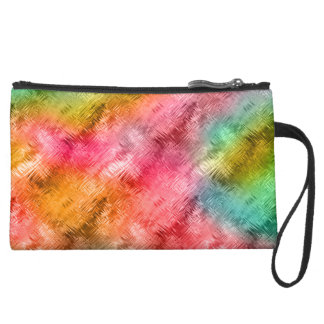 Colorful Crystal Glass Pattern Suede Wristlet