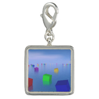 Colorful cubes floating - 3D render Charm