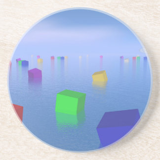 Colorful cubes floating - 3D render Coaster