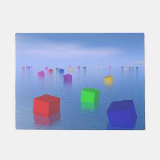 Colorful cubes floating - 3D render Doormat