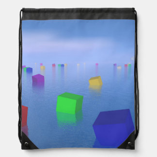 Colorful cubes floating - 3D render Drawstring Bag