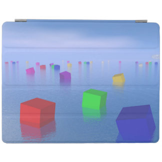 Colorful cubes floating - 3D render iPad Cover