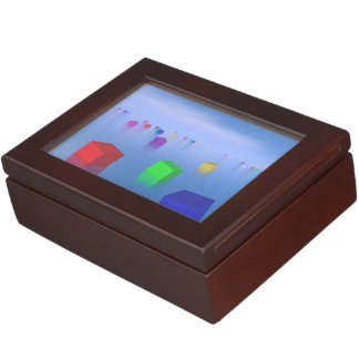 Colorful cubes floating - 3D render Keepsake Box