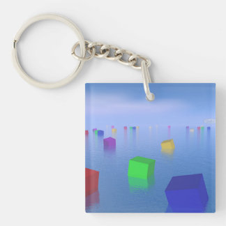 Colorful cubes floating - 3D render Keychain