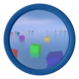 Colorful cubes floating - 3D render Poker Chips