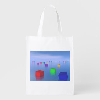 Colorful cubes floating - 3D render Reusable Grocery Bag