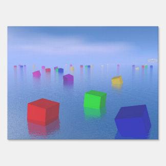 Colorful cubes floating - 3D render Sign