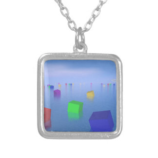 Colorful cubes floating - 3D render Silver Plated Necklace