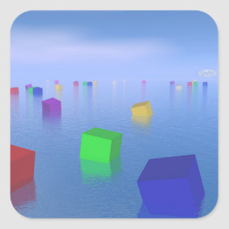 Colorful cubes floating - 3D render Square Sticker