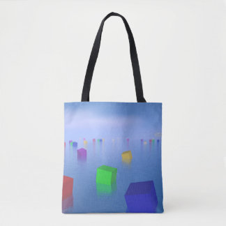 Colorful cubes floating - 3D render Tote Bag
