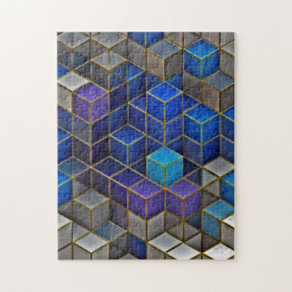 Colorful Cubes Geometric Pattern Jigsaw Puzzle