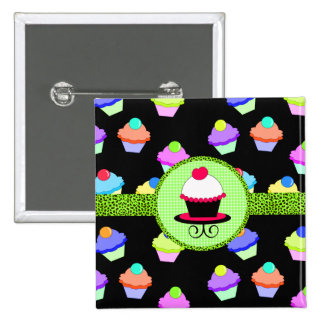 Colorful Cupcake Chaos 2 Inch Square Button