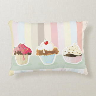 colorful cupcake decorative pillow