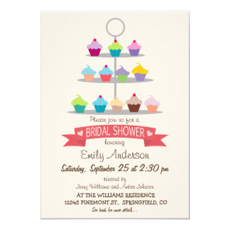 Colorful Cupcake Tree Bridal Shower Card