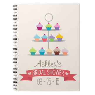 Colorful Cupcake Tree Bridal Shower Notebooks