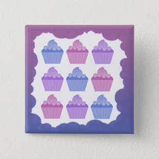 Colorful Cupcakes 2 Inch Square Button