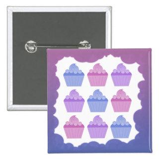 Colorful Cupcakes 2 Inch Square Button
