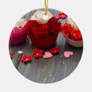 colorful cupcakes ceramic ornament