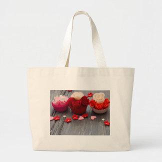 colorful cupcakes large tote bag