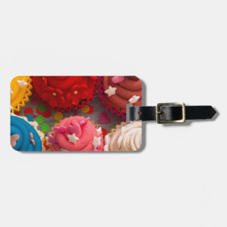 colorful cupcakes luggage tag