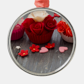colorful cupcakes metal ornament