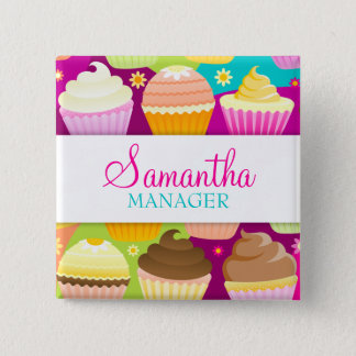 Colorful Cupcakes Name Badge 2 Inch Square Button