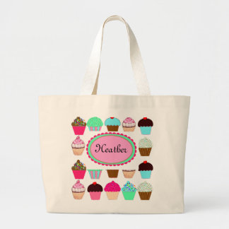 Colorful Cupcakes - Personalized Large Tote Bag