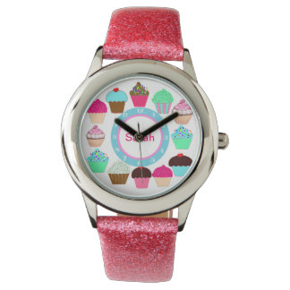 Colorful Cupcakes - Personalized Wrist Watches