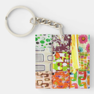 Colorful Cushion Covers Double-Sided Square Acrylic Keychain