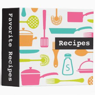 Colorful custom kitchen recipe binder / organizer